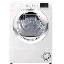 Hoover Link With One Touch 9kg Condenser Dryer, Sensor, White With Chrome Water Collection Glass Door