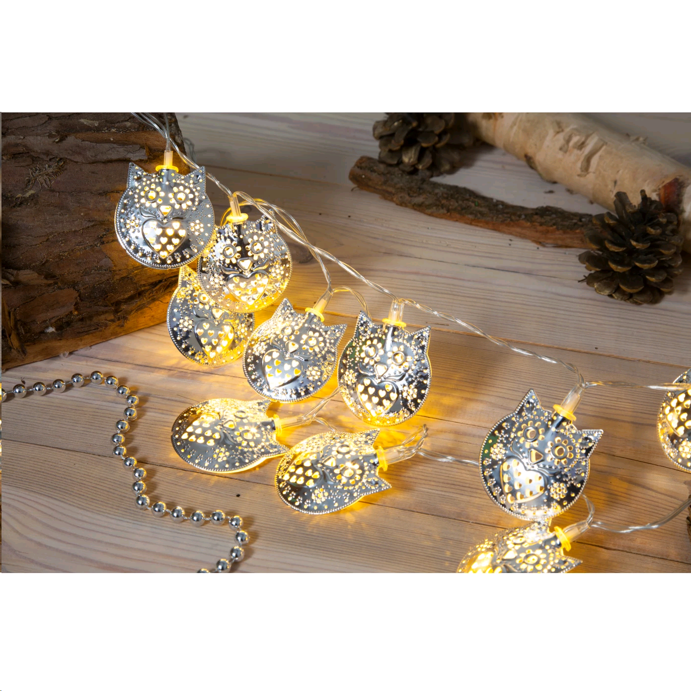 NOMA 6816051 METAL FILIGREE OWL  LIGHTS X20 LED Silver