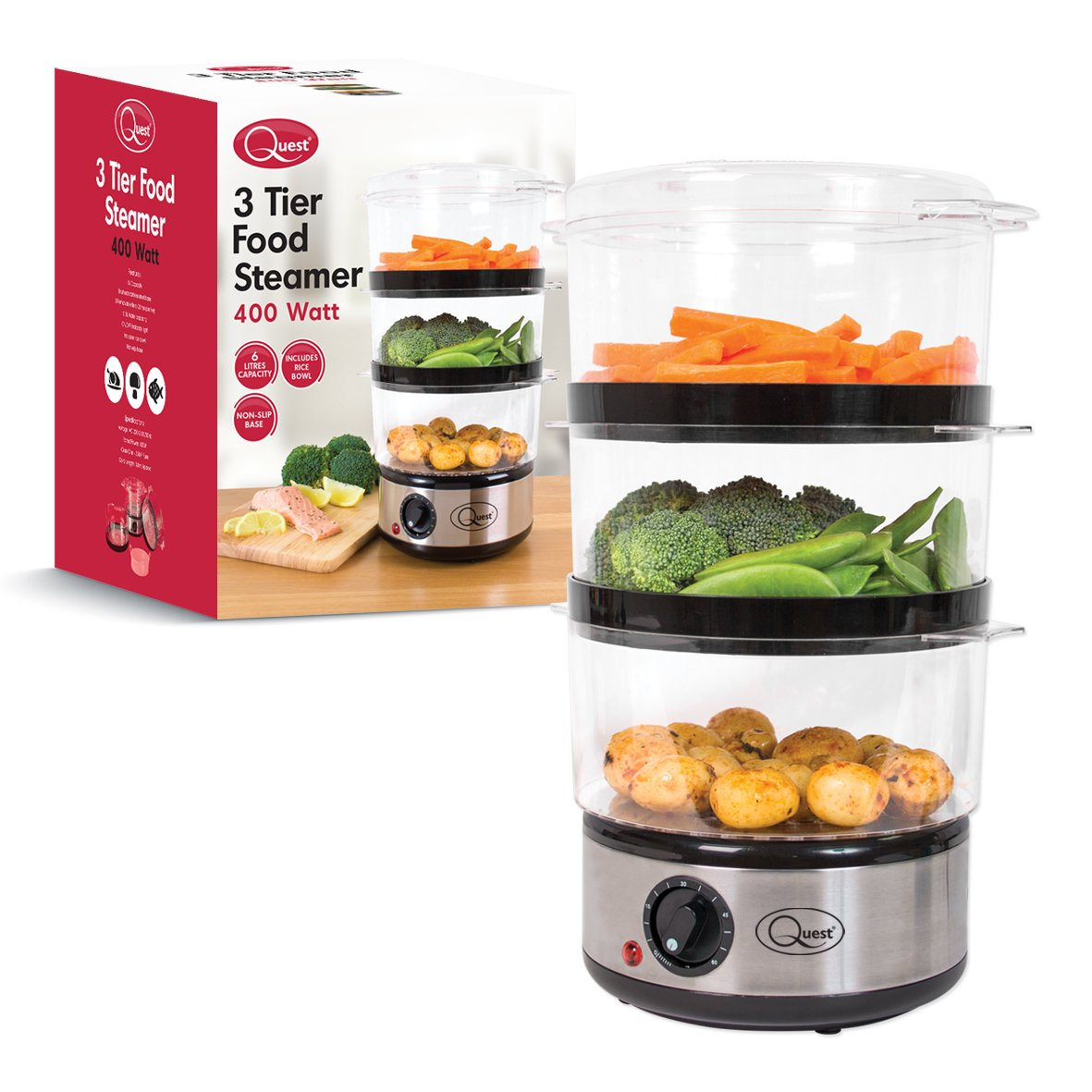 Quest BNR35220 3 Tier Steamer 7.2Litre 400W Compact Food Steamer with Rice Bowl  26.5cm x 21cm Silver