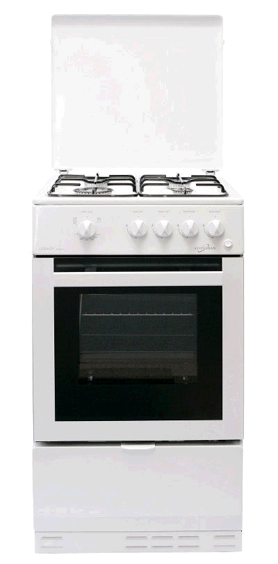 STATESMAN LEGACY 50GSLF Single Cavity White Gas Cooker 50cm Glass Lid