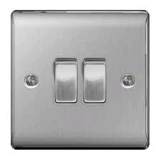 BG Nexus 2g 2w Switch Brushed Steel