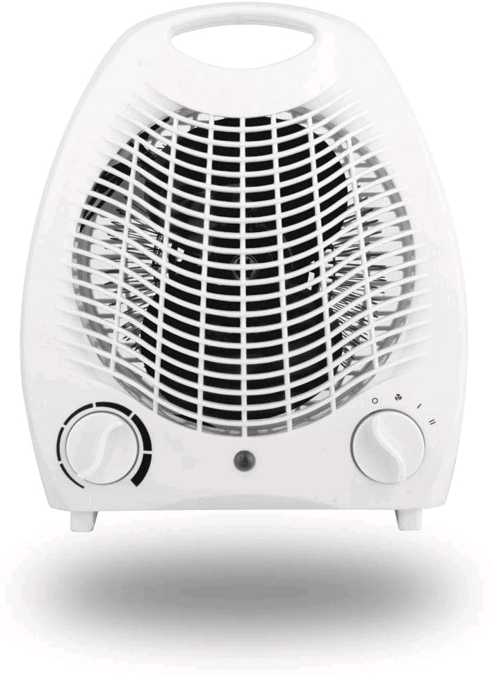 Thermos Small Light Quiet Portable 2KW 2000W Electric Upright Standing Fan Heater White