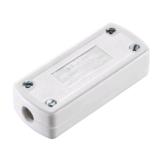 BG 13amp Through Connector 3 Pin White