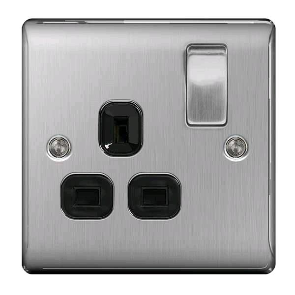 BG Single 13a Socket Brushed Steel Black Insert