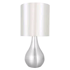 Lloytron Touch Table Lamp Bruched Chrome Cream Shade