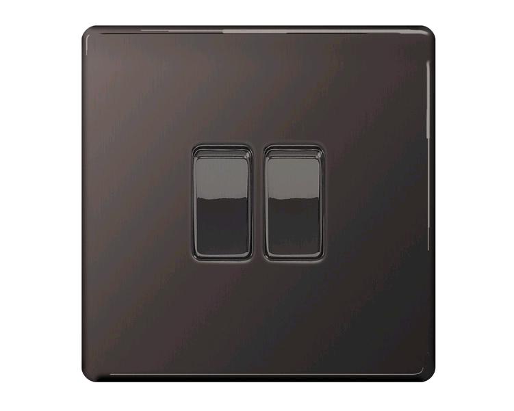 BG Black Nickel 2Gang 2Way Plate Switch