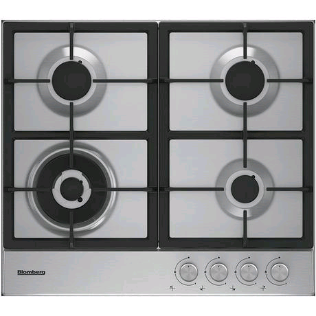 Blomberg 60cm Gas Hob c/w High Power Wok Burner in Stainless Steel