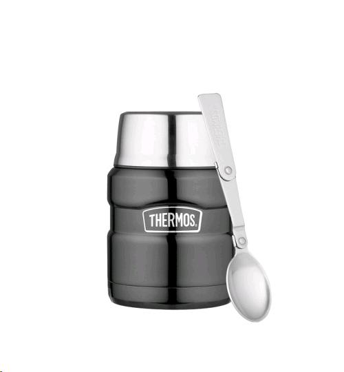 Thermos Food Flask 470ml Stainless Steel Gunmetal