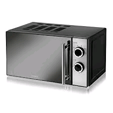 Tower 800w Microwave Manual with mirror finish Brushed Steel
