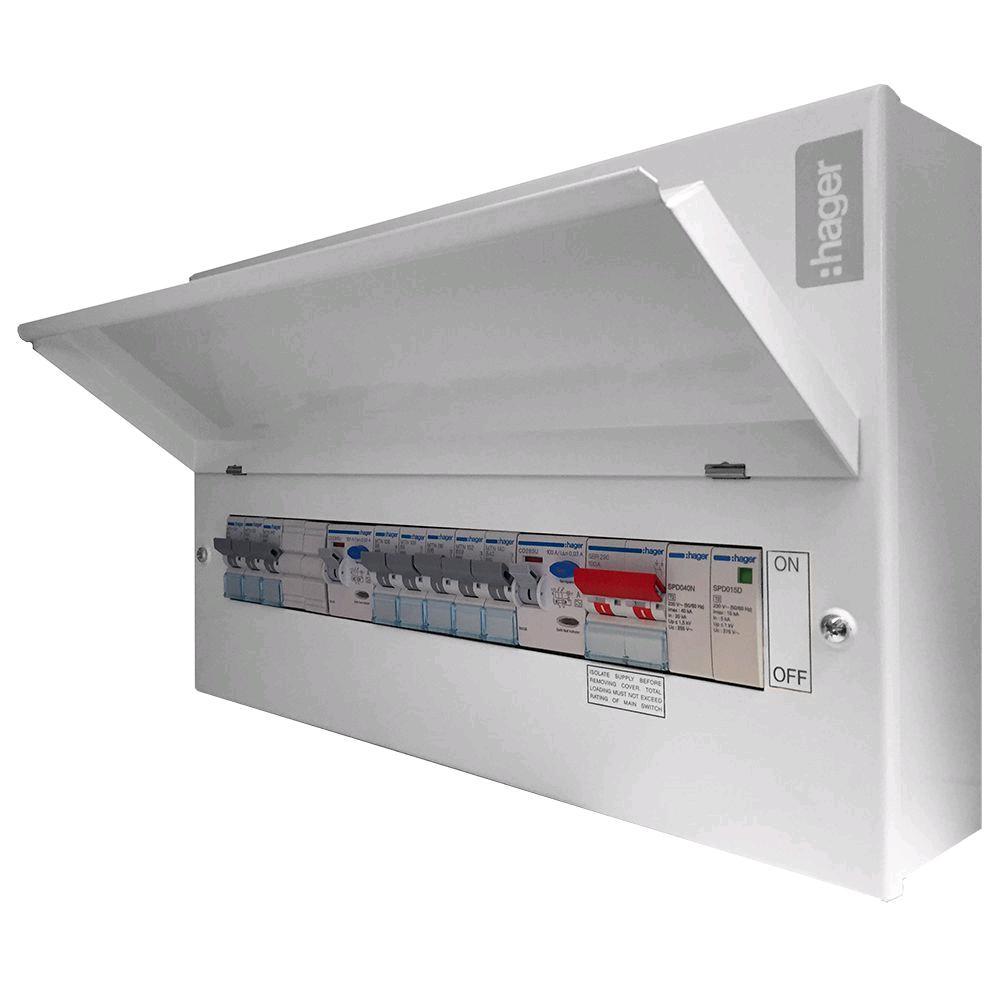 Hager 10W Split Board 2 x 100RCCB Type2 SPD + 8 MCB's