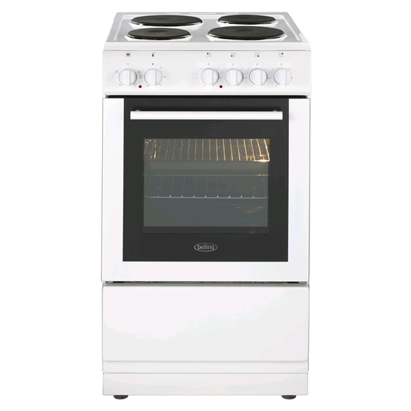 Belling Single Oven Electric Cooker 62ltr Solid Plates 50cm
