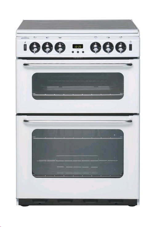 New World 60cm Gas Cooker White Mains Lid Timer