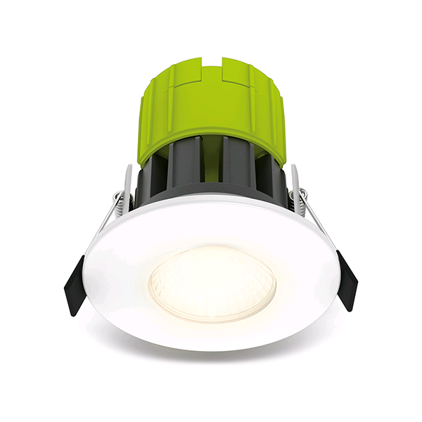 BG Eco Fire Rated LED Dimmable Downlight inc White Bezel 3000K 100LM/W IP65