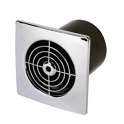 "Manrose 4"" 100mm Low Profile Timer Fan Chrome"