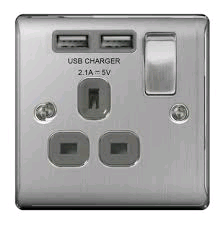BG 13a Single Socket c/w USB Port Brushed Steel