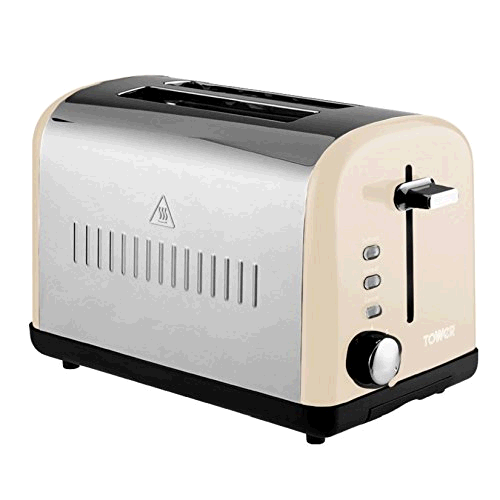 Tower Infinity T20014-R 2 Slice Stainless/ Red Toaster