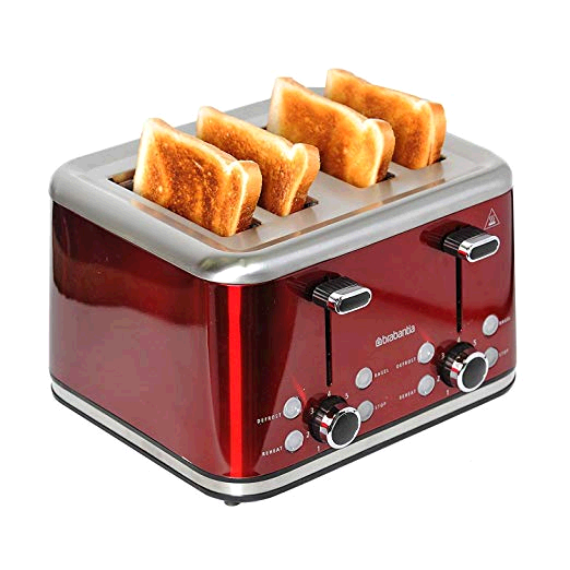 Brabantia 4 Slice Toaster Red/Brushed Stainless Steel