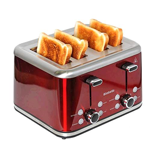 Brabantia  BBEK1031-R 4-Slice Toaster, 1800 W, Red/Brushed Stainless Steel