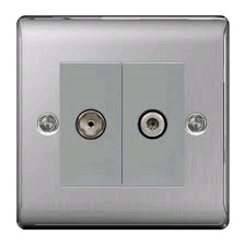 BG 2 Gang Satelitte and Co-Axial Socket Brushed Steel