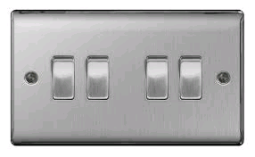 BG Nexus 4g 2w Switch Brushed Steel