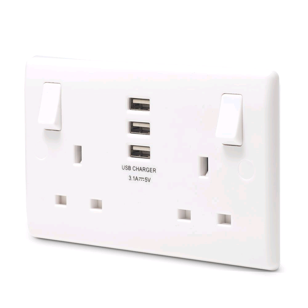 Bg Nexus 13a Twin Socket with 3 x USB Ports