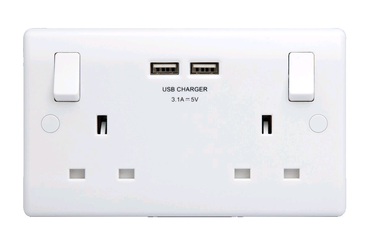 BG Nexus 13a Twin Socket with 2 x USB Ports 2.1A