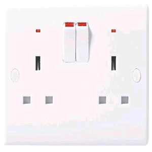 BG 2gang Double Pole Switched Socket Neon