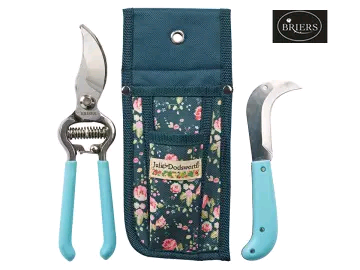 BRIERS B7002 JULIE DODSWORTH Flower Girl Secateurs/ Knife & Pouch Blue