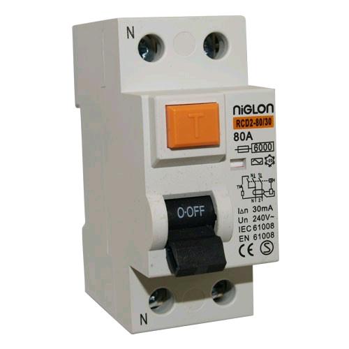 Niglon 2 Pole 80Amp 100mA RCD