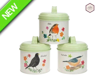 English Tableware Company 1652800 Garden Birds Storage Tins x 3 DD1980A01