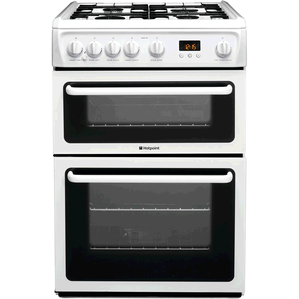 Hotpoint Gas Cooker LPG White Double Oven H90 W60 D60 Minute Minder