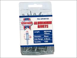 Faithfull Aluminium Rivets 4mm x 10mm Medium Pre-Pack of 100