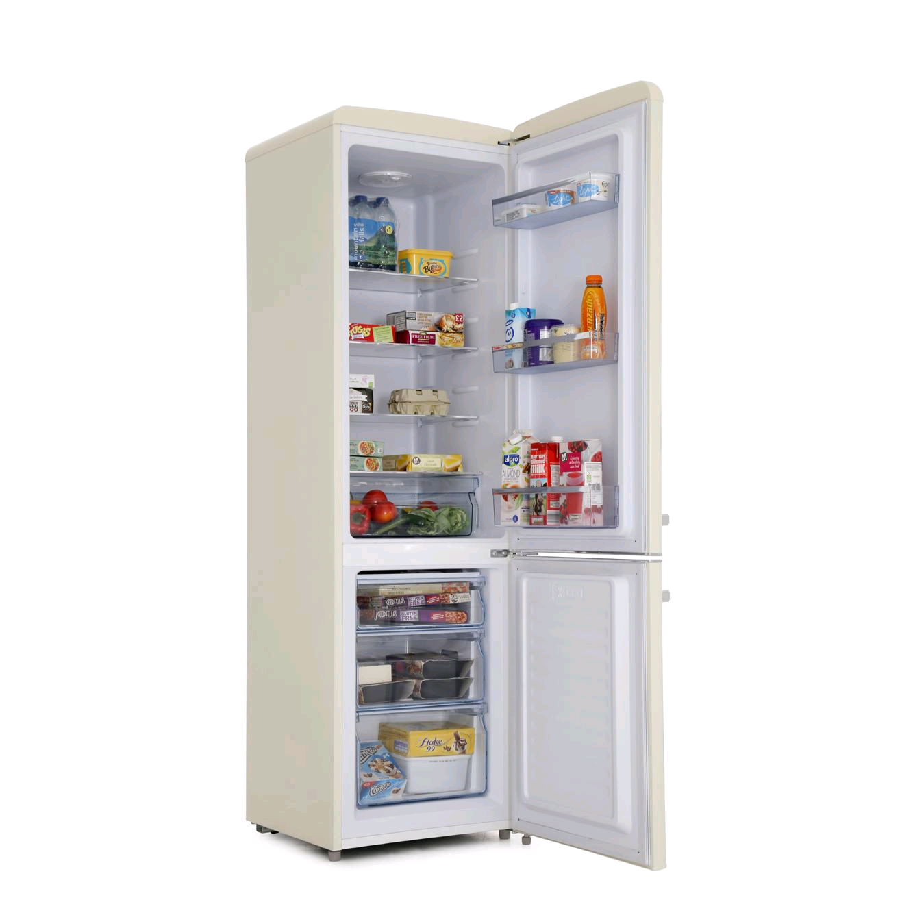 Amica FKR29653C Retro Cream Fridge Freezer Manual Defrost 181litre net fridge/63litre freezer Height 181 W 55 D 61.5