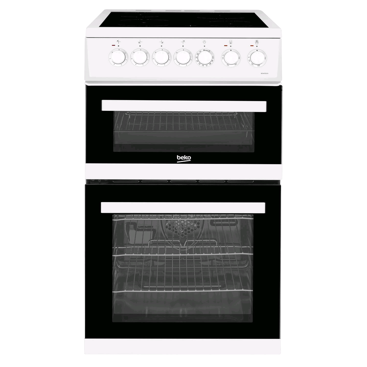 Beko Double Oven Ceramic Cooker White 50cm wide