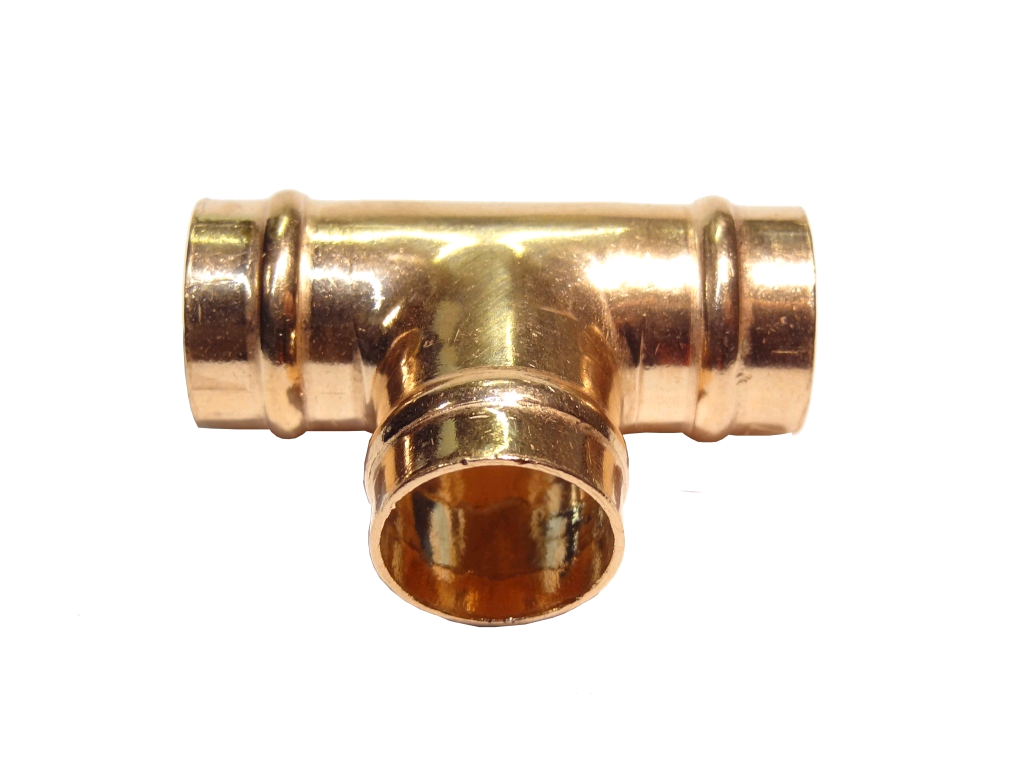 Copper Equal Tee 22mm Solder Ring