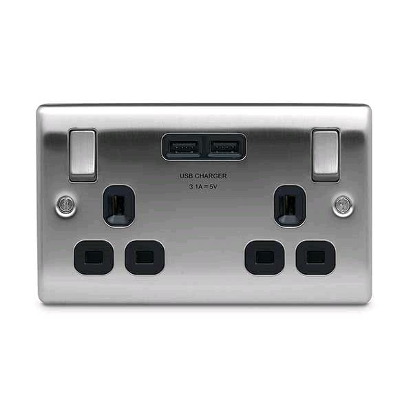 BG Twin 13a Socket c/w USB Port Brushed Steel Black Insert