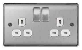 BG Nexus Brushed Steel Twin 13a Socket White Insert