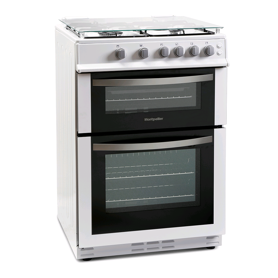 Montpellier 60cm Gas Cooker LPG Avail Double Oven White