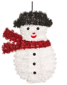 FESTIVE P0004295 TINSEL SNOWMAN HANGING (4 ASSORTED DESIGNS) 16.5CM