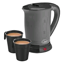 QUEST 0.5Litre Travel Kettle Black/Grey 600w Includes 2 Cups