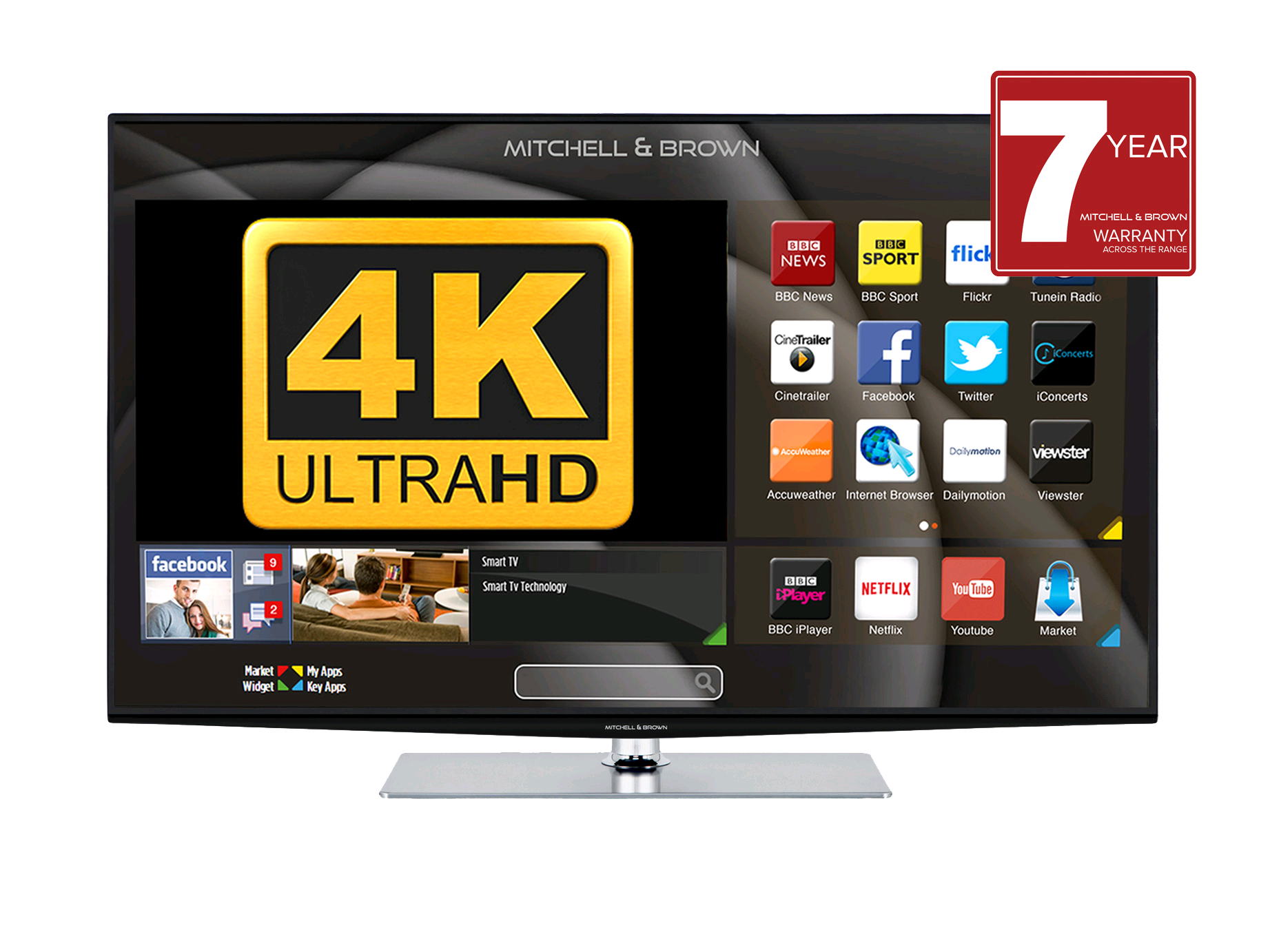 "Mitchell & Brown 32"" LED HD Ready TV, T2 Tuner Central stand, Freeview,  2 HDMI, WARRANTY MUST BE REGISTERED"