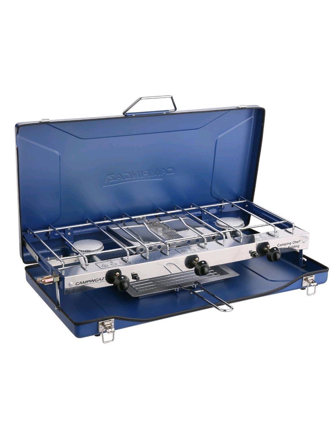 Caramarine 943078 Campingaz Camping Chef Folding Stove, Portable 2 Burner Stove 2 x 1.500 Watt, Compact Outdoor Toaster Grill 1.200 Watt