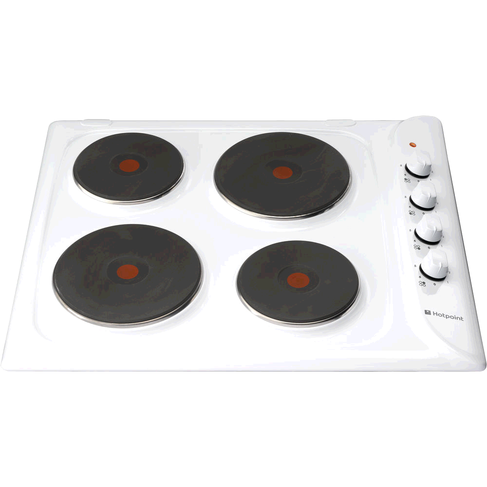 Hotpoint Solid Plate White Hob Side Controls
