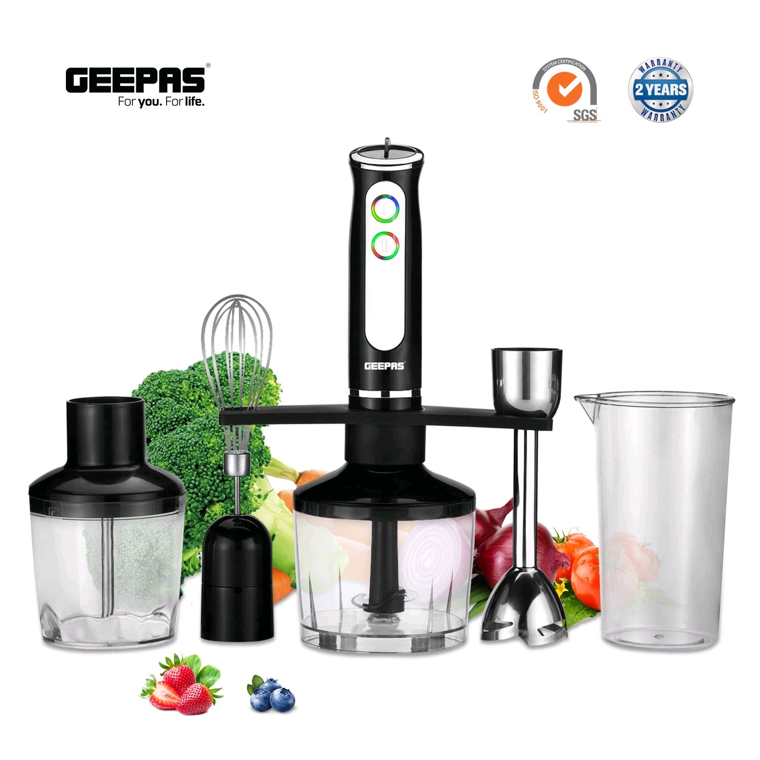 Geepas GHB43016UK 600W 5-in-1 Hand Blender � 8 Variable Speeds, Indicator Lights, Stainless Steel Blade for Blending The Perfect Smoothies and Grinding Coffee