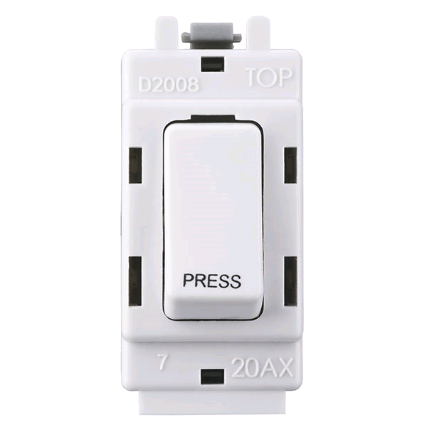 "BG Grid 2Way Retractive Switch "" Press"" White"