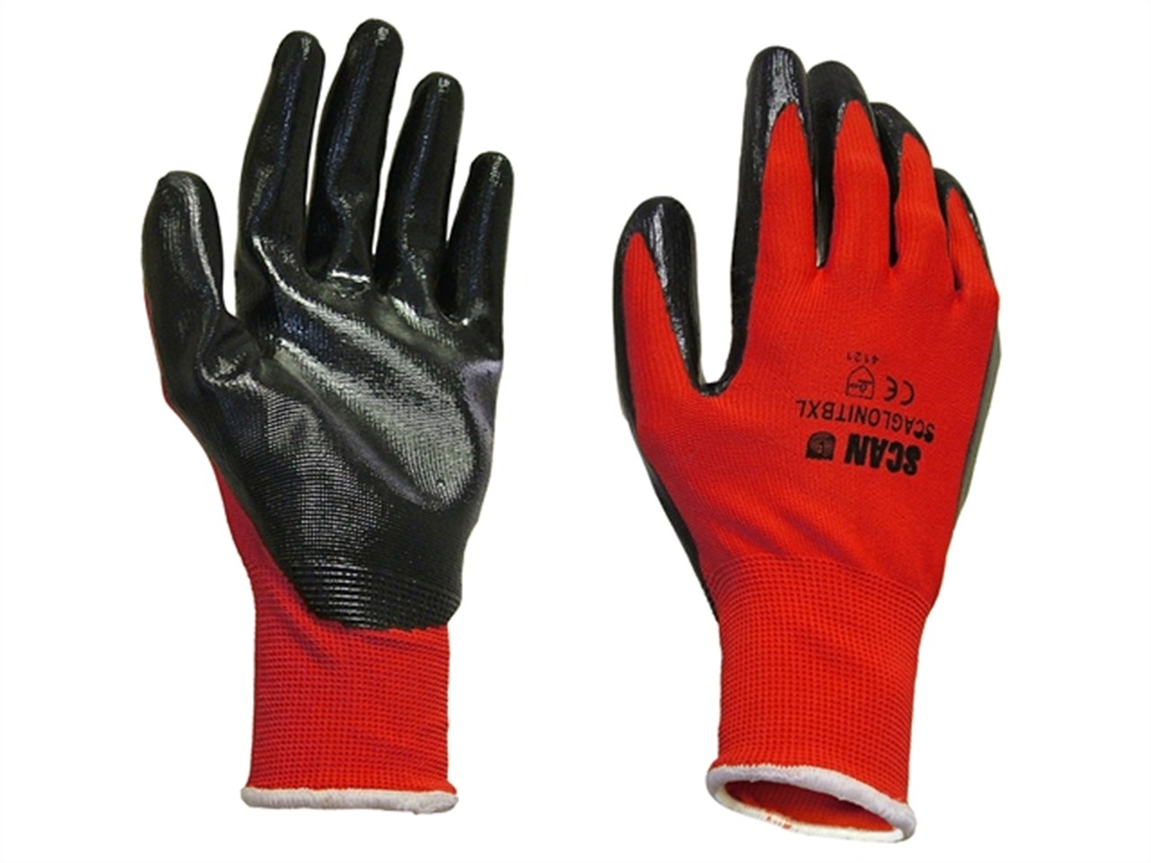 Scan Red Nitrile Gloves 13g Size 9