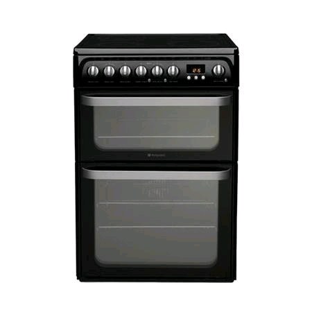 Hotpoint HUE61K Ultima 60cm Double Oven Electric Cooker in Black