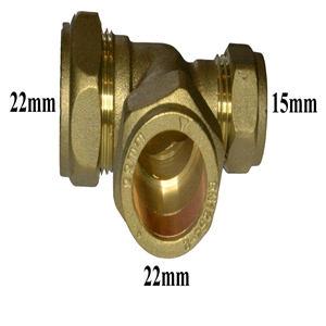 Copper Reducing Tee 22mm x 15mm x 22mm Compression
