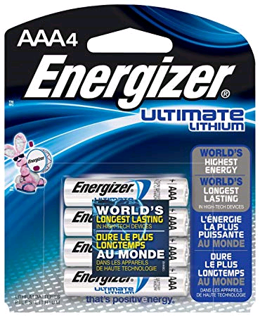 Energizer Battery AAA Lithium Ultimate 1.5Volt 4pk