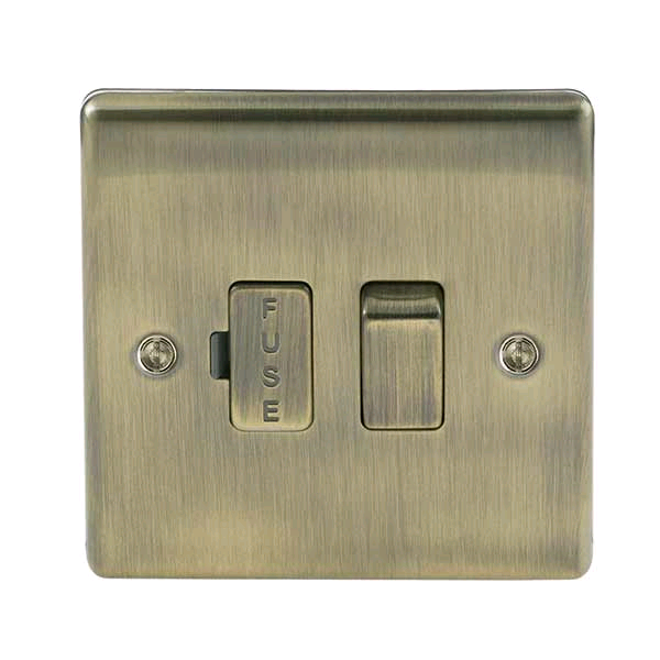 BG 13a Switched Fused Spur Antique Brass